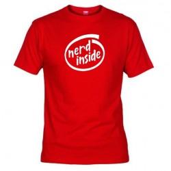 Pánské tričko Nerd inside červené