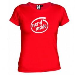 Dámské tričko Nerd inside červené