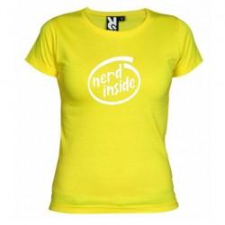 Dámské tričko Nerd inside žluté