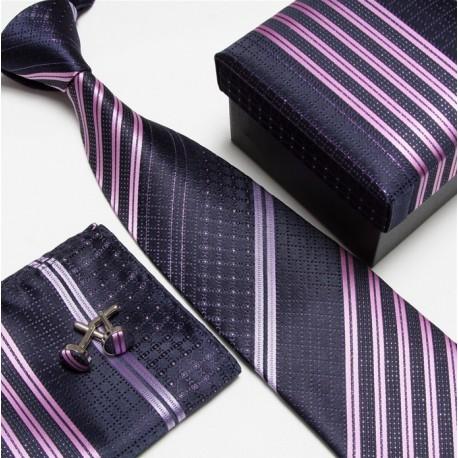 Dárkový set tmavě modrá kravata, kapesníček a manžetové knoflíčky