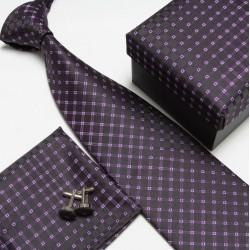 Dárkový set černá kravata, kapesníček a manžetové knoflíčky