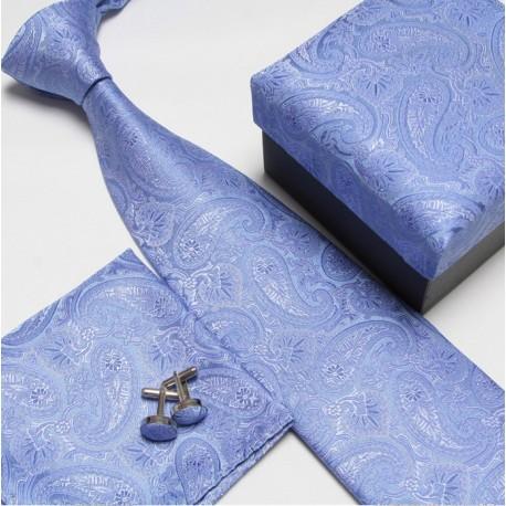 Dárkový set modrá kašmírová kravata, kapesníček a manžetové knoflíčky