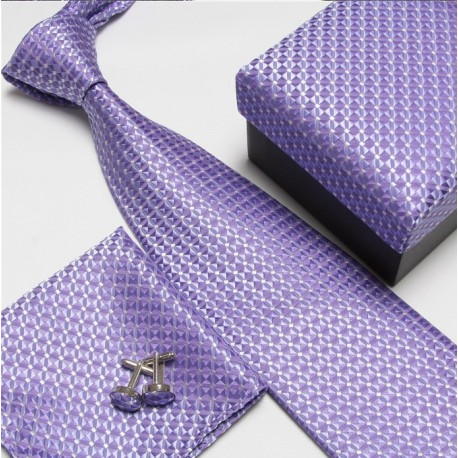Dárkový set fialová kravata, kapesníček a manžetové knoflíčky