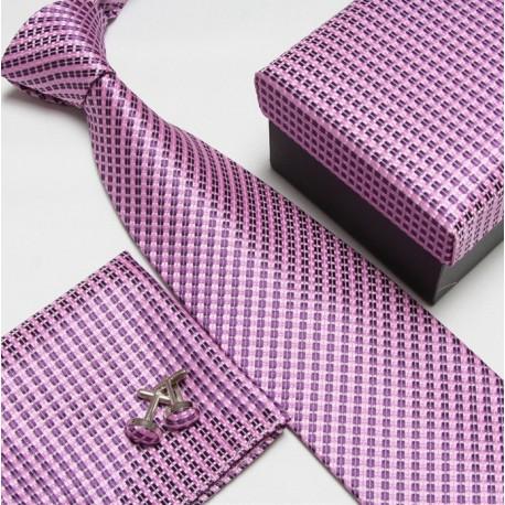 Dárkový set růžová kravata, kapesníček a manžetové knoflíčky