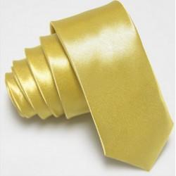 Úzká SLIM kravata světle žlutá