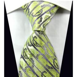 Hedvábná kravata zelená kašmírová NT0334