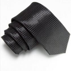 Úzká SLIM kravata černá se vzorem šachovnice