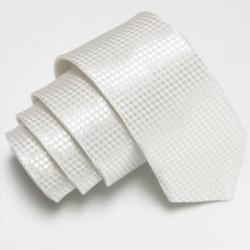 Úzká SLIM kravata bílá se vzorem šachovnice