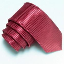 Úzká SLIM kravata vínová se vzorem šachovnice