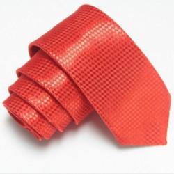 Úzká SLIM kravata červená se vzorem šachovnice