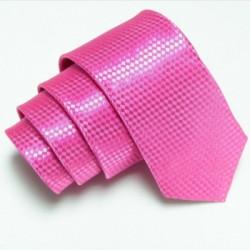 Úzká SLIM kravata růžová se vzorem šachovnice