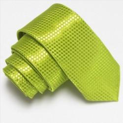 Úzká SLIM kravata světle zelená se vzorem šachovnice