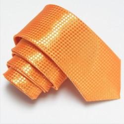 Úzká SLIM kravata oranžová se vzorem šachovnice