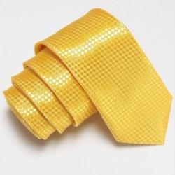Úzká SLIM kravata žlutá se vzorem šachovnice