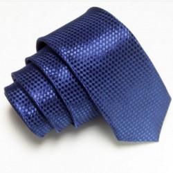 Úzká SLIM kravata tmavě modrá se vzorem šachovnice