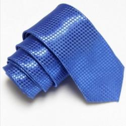 Úzká SLIM kravata modrá se vzorem šachovnice