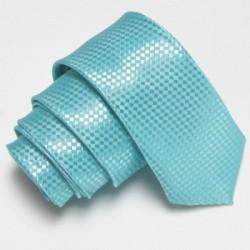 Úzká SLIM kravata tyrkysová se vzorem šachovnice