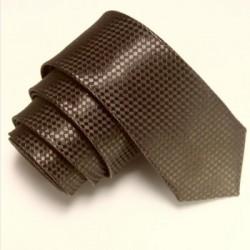 Úzká SLIM kravata hnědá se vzorem šachovnice