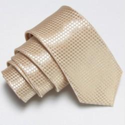Úzká SLIM kravata béžová se vzorem šachovnice