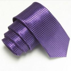 Úzká SLIM kravata tmavě fialová se vzorem šachovnice