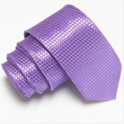 Úzká SLIM kravata fialová se vzorem šachovnice
