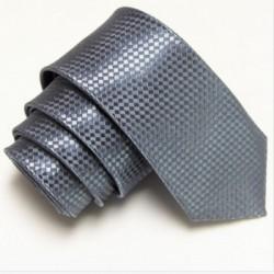 Úzká SLIM kravata grafitová se vzorem šachovnice