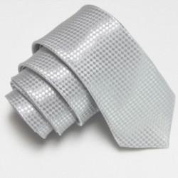 Úzká SLIM kravata stříbrná se vzorem šachovnice