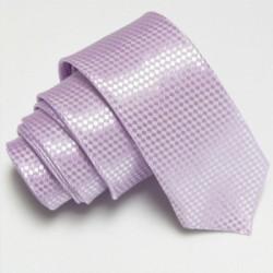 Úzká SLIM kravata světle fialová se vzorem šachovnice