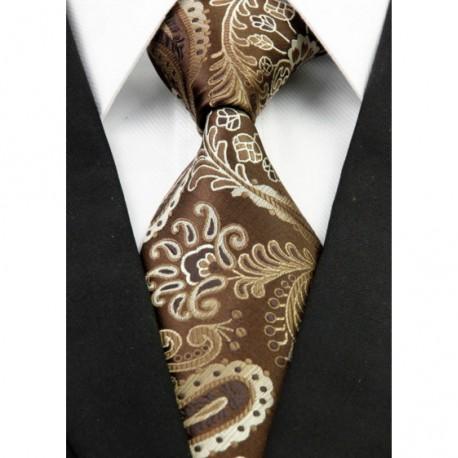 Hedvábná kravata hnědá NT0286