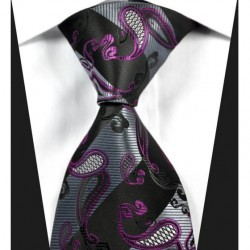 Hedvábná kravata černá kašmírová NT0333
