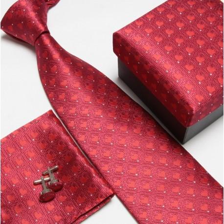 Dárkový set červená kravata, kapesníček a manžetové knoflíčky