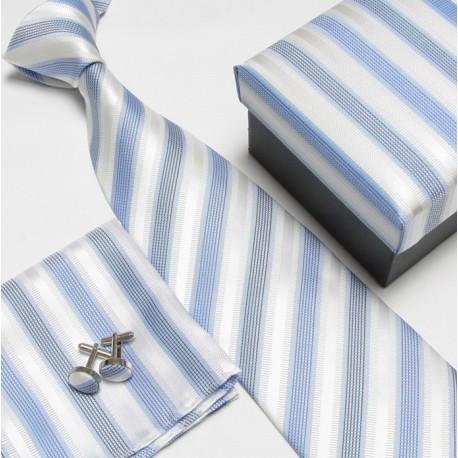 Dárkový set modrá kravata, kapesníček a manžetové knoflíčky